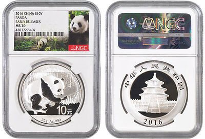 2016 China Silver 30 Gram Panda Coin - Ngc Ms70 Early Releases