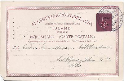 Iceland 1920 5a on 10a card used
