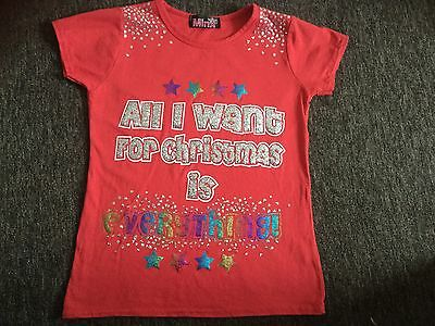 Christmas red t- shirt/ top age 9-10 years.