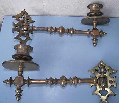 Antique Victorian Gothic Lacquered Brass Piano Candlesticks x 2 English #2
