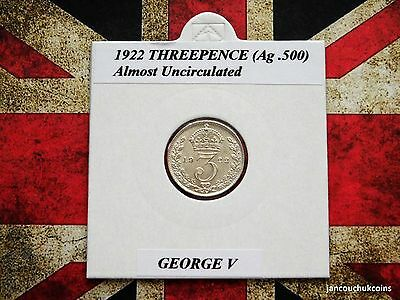�� ALMOST UNCIRCULATED? 1922 Threepence Coin (Silver .500) George V