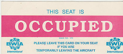 Bwia  Seat Occupied Card Sign