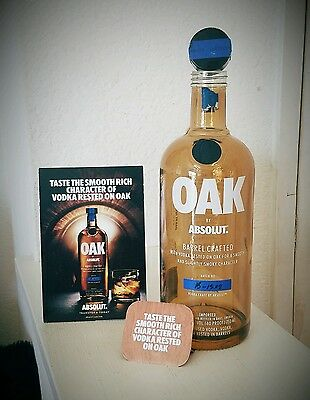 Absolut OAK empty 750ml collectors bottle no Amber collectible vodka w/ neck tag