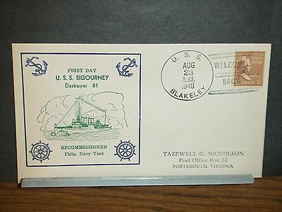 USS SIGOURNEY DD-81 Naval Cover 1940 RECOMMISSIONED Cachet USS BLAKELEY