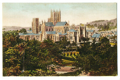 Vintage postcard Wells Cathedral from Cor Hill, Somerset