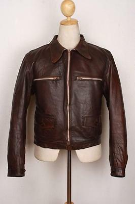 Vtg 30s FRENCH Leather Cyclist HARTMANN Flight German Jacket Luftwaffe S/M