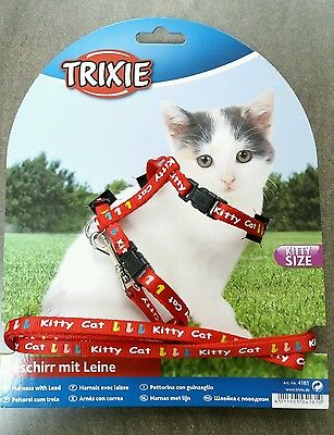 New Trixie Kitten Kitty Size Collar Harness Red Small Cat Collar Pet Lead