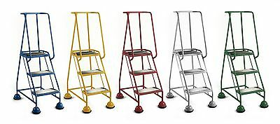 Three Tread Redhill Steptek Classic Mobile Safety Steps For Warehouse Workshop