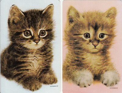 Vintage Swap/Playing Cards - 2 SINGLE- GIORDANO CATS / KITTENS