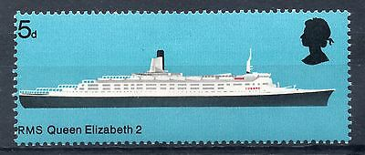 GB = 1969 5d RMS QE2 Ship, Mis-Perfed to Left. Design touching Left perfs. MH.