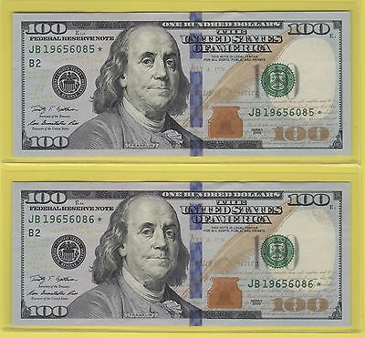 2009 Federal Reserve One Hundred Dollar Bills ..$100..2 Consecutive **stars**