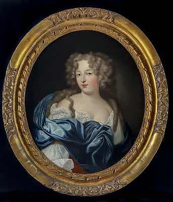 Exquisite 17th Century French Portrait of Aristocratic Lady Antique Oil Painting
