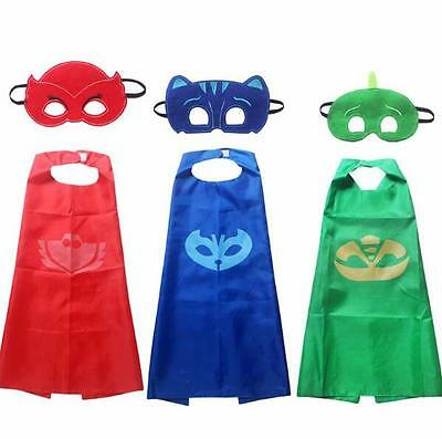 2pcs/set PJ Masks Role-play Cloak and Mask Cosplay Action Toys Owlette Catboy