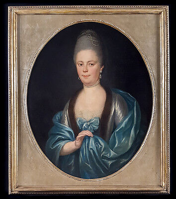 Huge Fine 18th Century Portrait of Lady Pearls Rococo Oval Antique Oil Painting