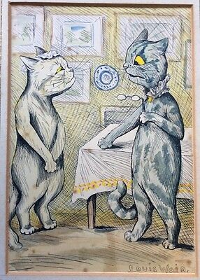 ANTIQUE HAND COLOURED PRINT by LOUIS WAIN COMICAL CATS MISTRESS TO SERVANT c1912
