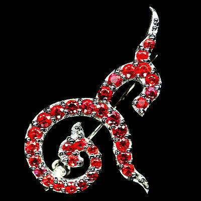Thai Number! Real! Red Sapphire 925 Sterling Silver Brooch White Gold Plated