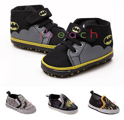 Newborn Pre-Walker Baby Boy Batman Soft Sole Crib Shoes 0-6 6-12 12-18 Months