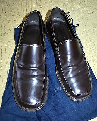 Men's PRADA Leather Square toe BROWN Loafer Shoe 1452 - Sz 8 fits US 9