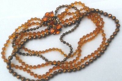 Wonderful 40's Vintage Necklace/5 Strands Amber & Gold Crystals/Huge Clasp with
