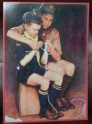 """Boy Scout w/ Cub Scout """"A Guiding Hand"""" Norman Rockwell Embossed Collector Sign"""