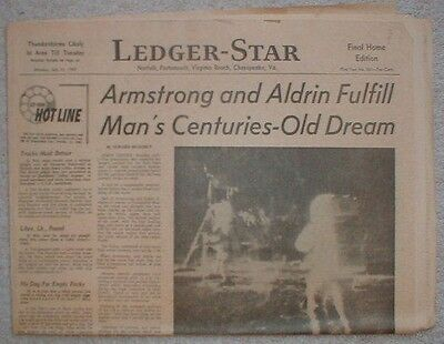 1969 Man on the MOON APOLLO 11 Neil Armstrong Newspaper Vintage old 7-21-69 #1