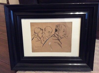 Original Pen Ink Drawing By J H DOWD of WINSTON CHURCHILL 1926 Art Picture