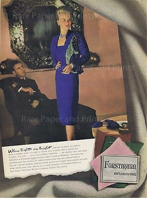1943 Original Forstmann Fashion Elegant Woman in Blue Wool Dress Vintage Ad