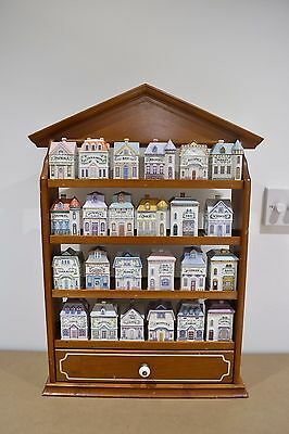 """24 SPICE JAR HOUSES and WOODEN SPICE RACK """"allspice"""" by Brooks & Bentley"""