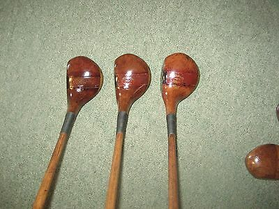 Rare fancy faced matched set hickory shafted woods.