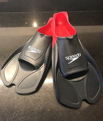 SPEEDO BioFUSE Black And Red Training Fins / Flippers: UK Size 6-7 EU 39-41
