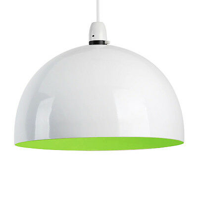 Large Round Gloss White / Green Metal Ceiling Pendant Light Lamp Shade Lampshade