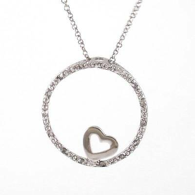 """Sterling Silver Natural Diamond Round Circle Heart Pendant Chain Necklace 18"""""""