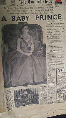 old newspapers - Birth of Prince Andrew 1960