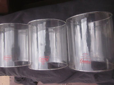 """(3) Coleman Green Lantern Parts. """"pyrex/coleman"""" Globes In Red Letters - 220,228"""