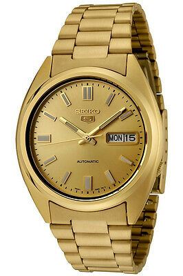 Seiko Mens Automatic Gold Plated Day & Date Watch SNXS80K
