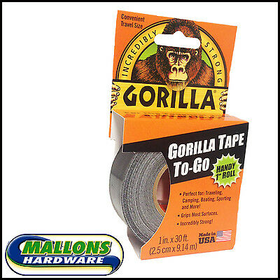 "GORILLA TAPE TO-GO HANDY 1"" ROLL - Black Gaffa Duct Duck Repair Travel Size"