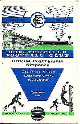 CHESTERFIELD v EXETER CITY F.C. on Sat. 22nd. April 1967 PROGRAMME.