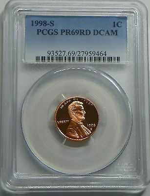 1998-S Proof Lincoln Cent Penny PCGS PR69RD DCAM - FREE SHIPPING