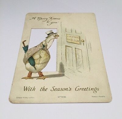 Victorian Greetings Card.  Ernest Nister. Anthropomorphic Goose.