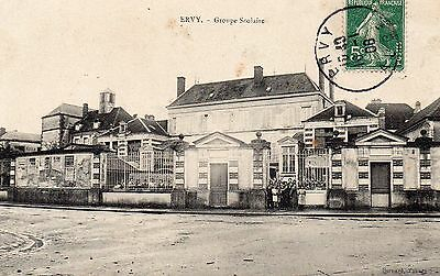 Cpa Ervy Le Chatel - Groupe Scolaire ( Aube Troyes )