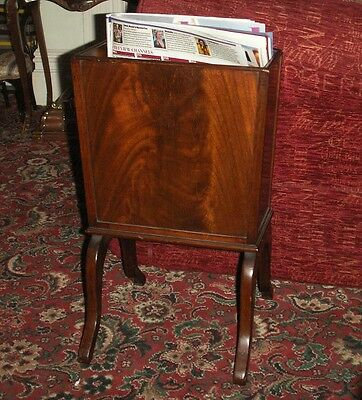 Old Vintage Georgian Style Mahogany Wooden Magazine Newspaper Holder Cantebury