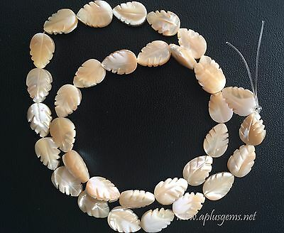 """Natural Mother of Pearl  8x12mm Carved Leaf Beads 16"""" strand 32pcs"""