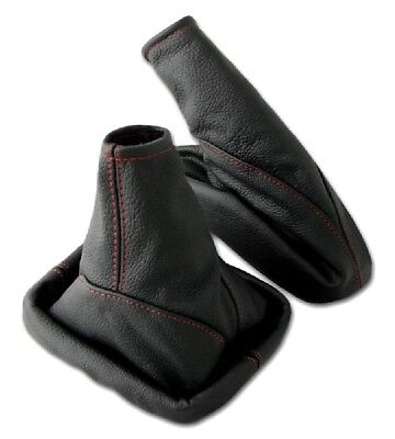 Shift gaiter + Hand brake sleeve OPEL ASTRA G 100% REAL LEATHER black Red seam