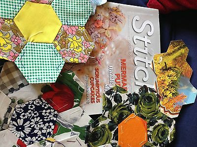 Vintage sewing and quilting materials.