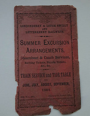Londonderry & Lough Swilly & Letterkenny Railway 1901 Excursion & Timetable, Etc