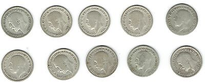 George V Silver Sixpence X Ten