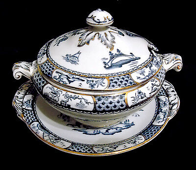 """Till & Sons Small Tureen/Serving Dish with Saucer – """"Pagoda"""" Pattern, c.1917/22"""