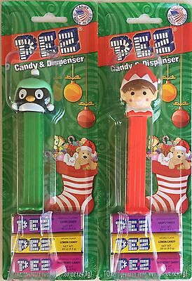 PEZ - 2016 Christmas - Green Penguin & Red Elf - Mint on Cards - MOC