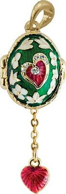 Faberge Egg Pendant / Charm with Hearts 2 cm green #0738