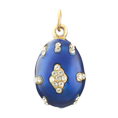 Faberge Egg Pendant / Charm with crystals 2.3 cm blue #1401-01